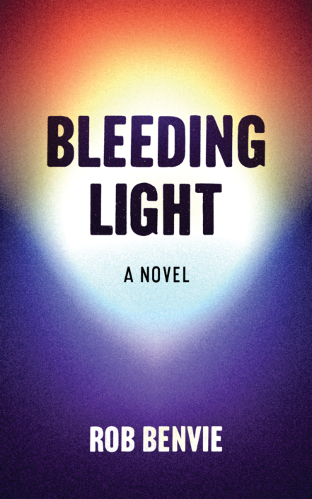 The book's title Bleeding Light appears in thick black letters against a ball of white light that's tinted purple, red, yellow and orange around the edges.