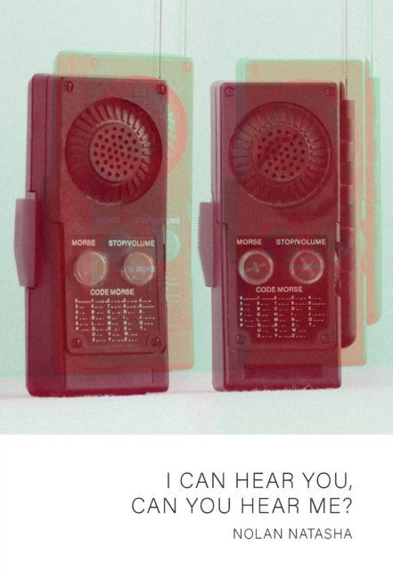 Cover of I can hear you, can you hear me by Nolan Natasha. Image is two magenta walkie-talkies beside each other against a baby-blue background.