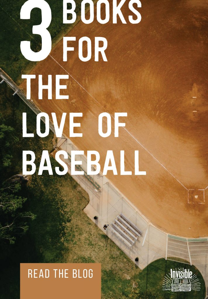 Aerial image of a baseball diamond and text that reads 3 Books for the Love of Baseball