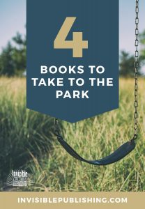Image of a swing and a field and text that reads 4 books to take to the park