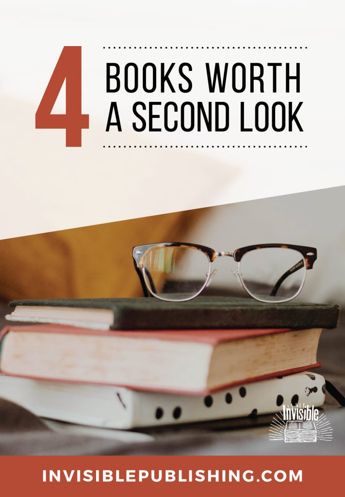 Blog post image that's a stack of books and glasses and text that reads 4 books worth a second look