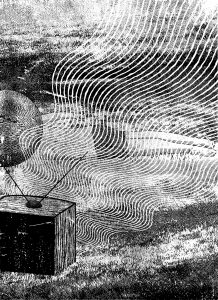 Black and white abstract image of a TV with wavy lines