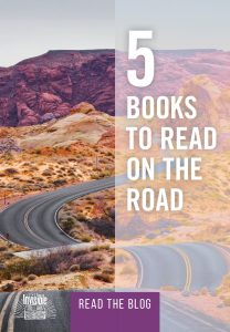 Image of winding road and text that reads 5 books to read on the road