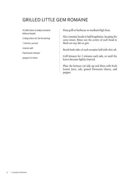 Recipe for Grilled Little Gem Romaine; please email info@invisiblepublishing.com for an accessible version.