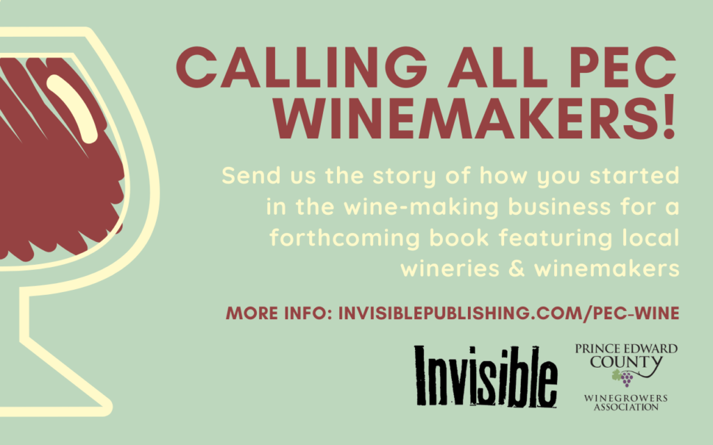 Call for ubmissions image featuring a wine glass and information an upcoming winery anthology