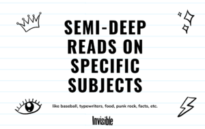 Text is Semi-deep reads on specific subjects surrounded by line drawings of a crown, an eye, stars, and a lightning bolt