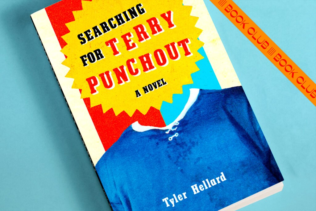 Cover of book titled Searching for Terry Punchout by Tyler Hellard against a blue background overlaid by a book club stamp