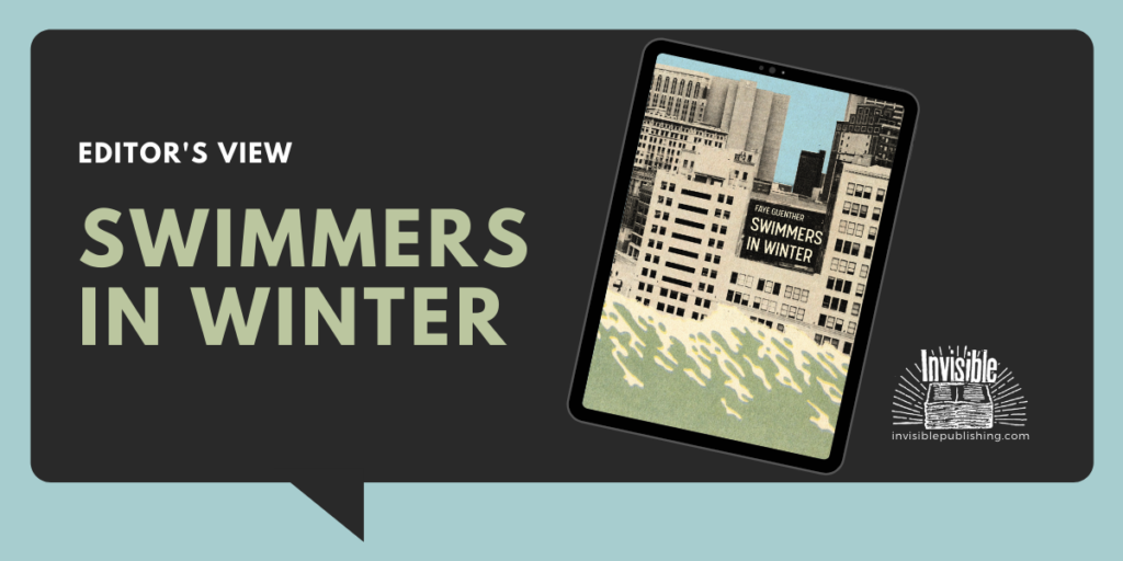 A black speech bubble holds the words Editor's View: Swimmers in Winter and a cover of the book Swimmers in Winter on an ipad screen.