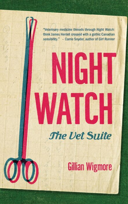 The book's title, Night Watch: The Vet Suite appears in hot pink sits next to an illustration of scissor clamps, atop vintage graph paper and green background.